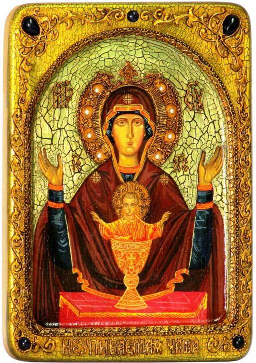 Инкрустированная аналойная икона Образ Божией Матери Неупиваемая чаша (21*29 см, Россия) на натуральном кипарисе в подарочной коробке