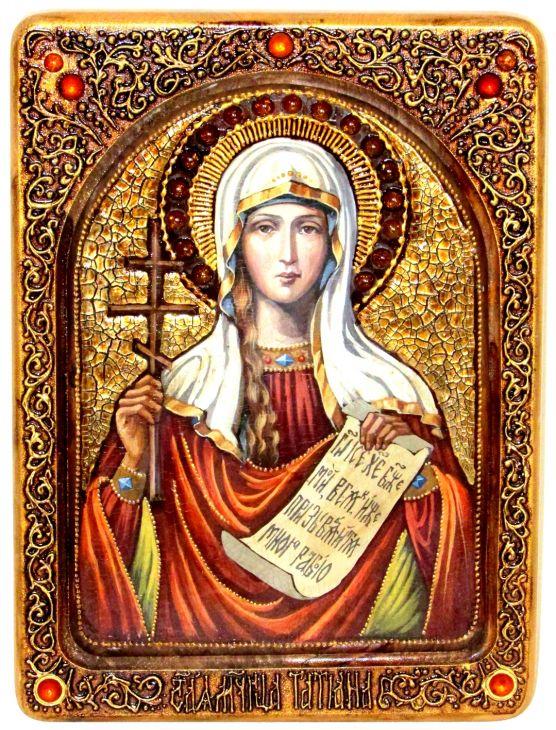 Инкрустированная Живописная икона Святая мученица Татиана (21*29 см, Россия) на натуральном кипарисе в подарочной коробке