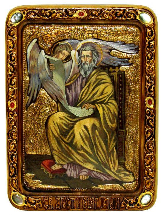 Инкрустированная Живописная икона Святой апостол и евангелист Матфей (21*29 см, Россия) на натуральном мореном дубе в подарочной коробке