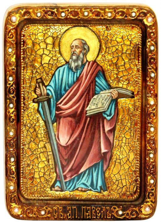 Инкрустированная Живописная икона Первоверховный апостол Павел (21*29 см, Россия) на натуральном кипарисе в подарочной коробке