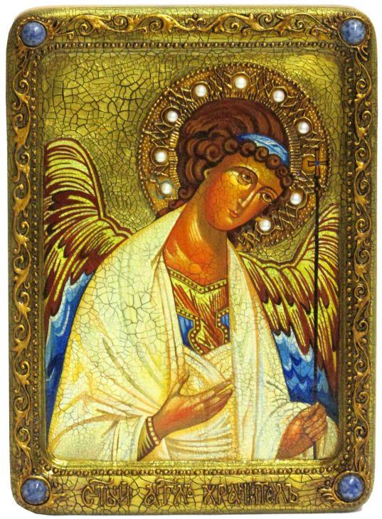 """Живописная икона """"Ангел Хранитель"""" на кипарисе"""