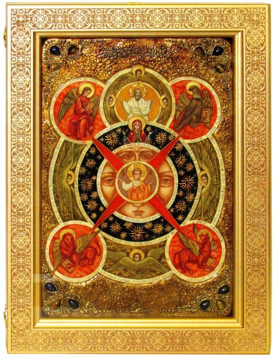 Инкрустированная Живописная икона Всевидящее Око Божие (29*42 см, Россия) на натуральном кипарисе в подарочной коробке