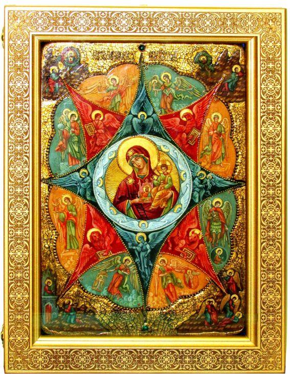 Инкрустированная Живописная икона Образ Божией матери Неопалимая купина (29*42 см, Россия) на натуральном кипарисе в подарочной коробке