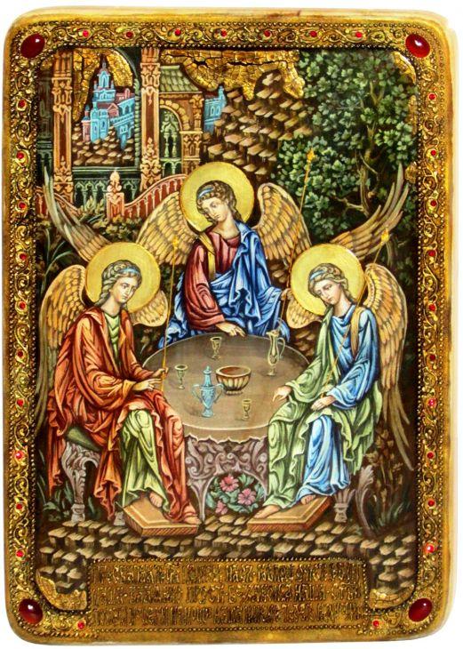 Инкрустированная Живописная икона Троица (29*42 см, Россия) на натуральном кипарисе в подарочной коробке
