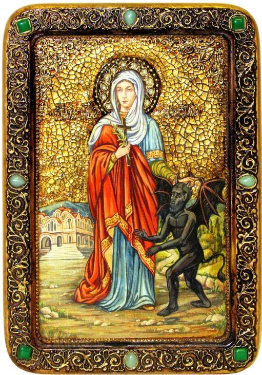 Инкрустированная Живописная икона Святая великомученица Марина (Маргарита) Антиохийская (29*42 см, Россия) на натуральном кипарисе в подарочной коробке