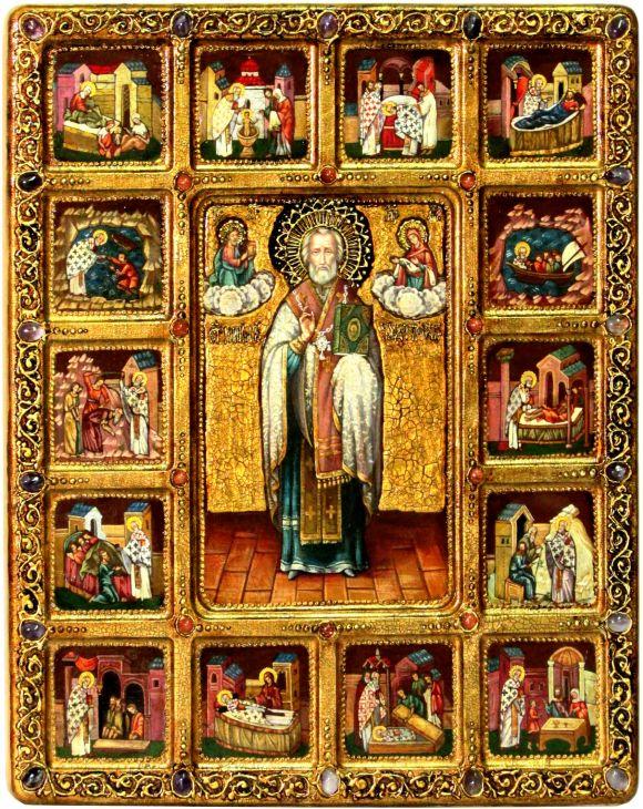 Инкрустированная Живописная икона Святитель Николай, архиепископ Мир Ликийский (Мирликийский), чудотворец с житийными сценами (54*44 см, Россия) на сакральном кипарисе в подарочной коробке