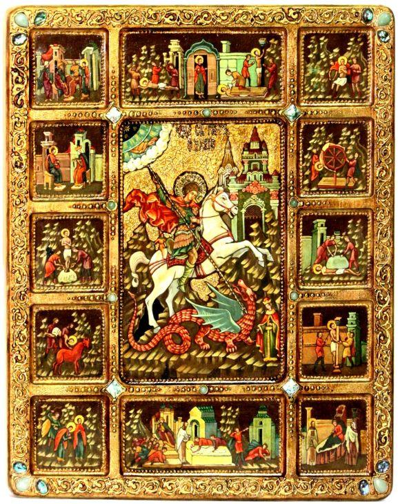 Инкрустированная Живописная икона Чудо Святого Георгия о змие с житийными сценами (54*44 см, Россия) на сакральном кипарисе в подарочной коробке