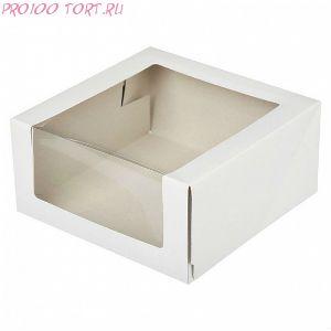 Коробка для торта с окном 225х225х110 белая