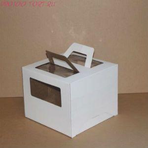 Коробка для торта, 260x260x200,, микрогофрокартон, белая, с окном, с ручками
