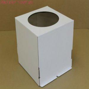 Коробка для торта, 220x220x250мм, гофрокартон, белая, с окном