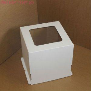 Коробка для торта, 300x300x190мм, гофрокартон, белая, с окном