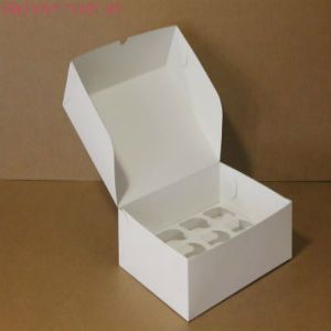 Коробка для капкейков, 250x250x100мм, на 9 капкейков, целлюлозный картон, белый