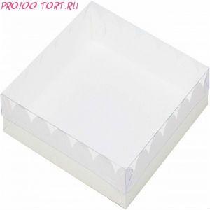 Коробка для печенья, пряников 200х200х35 белая с прозрачной крышкой /50/