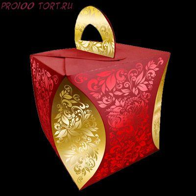Коробка для кулича d124мм высота 160 мм УЗОР ХОХЛОМЫ красный