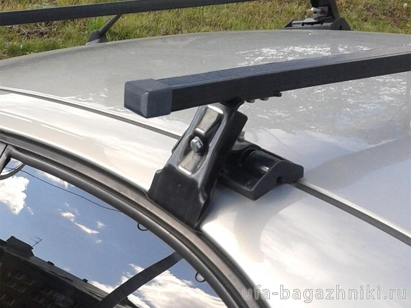 Универсальный багажник на крышу Chevrolet Lanos, Евродеталь, вид А, стальные прямоугольные дуги