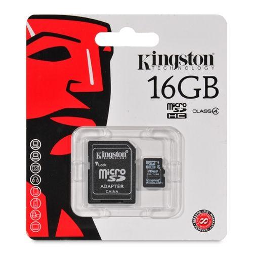 Карта памяти microSD Kingston 16GB  Class 4 с адаптером SD