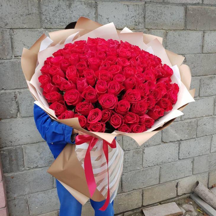 Букет Гигант из 101красной импортной  розы