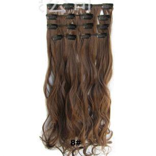 Искусственные волнистые термостойкие волосы на заколках №008 (55 см) - 7 прядей, 100 гр.