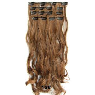Искусственные волнистые термостойкие волосы на заколках №012 (55 см) - 7 прядей, 100 гр.