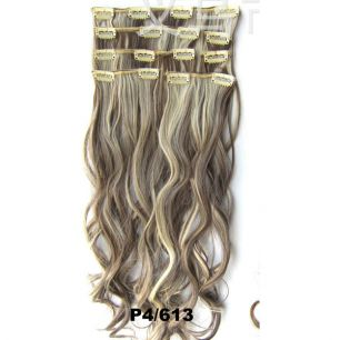 Искусственные волнистые термостойкие волосы на заколках №P004/613 (55 см) - 7 прядей, 100 гр.