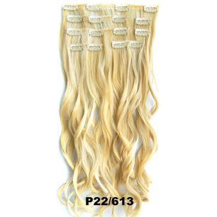Искусственные волнистые термостойкие волосы на заколках №P022/613 (55 см) - 7 прядей, 100 гр.