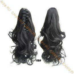 Искусственные термостойкие волосы на зажиме волнистые №001B (40 см) -  90 гр.