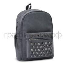 Рюкзак Феникс+ черный с цветами-заклепками искусственная кожа 48360