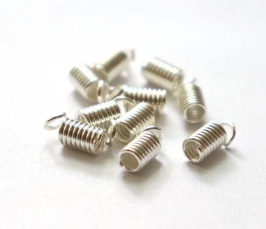Концевик-пружинка D-4 мм, Светлое серебро, 10 шт/упак
