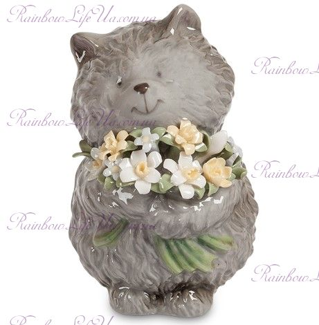 """Фигурка котёнок с букетом """"Pavone"""""""