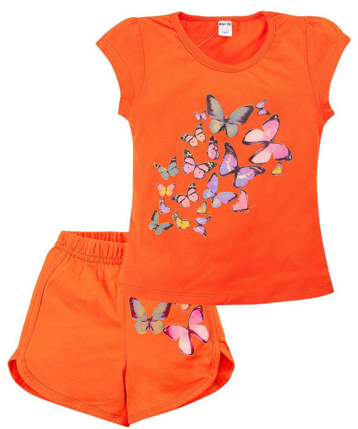 Комплект оранжевый принт с бабочками
