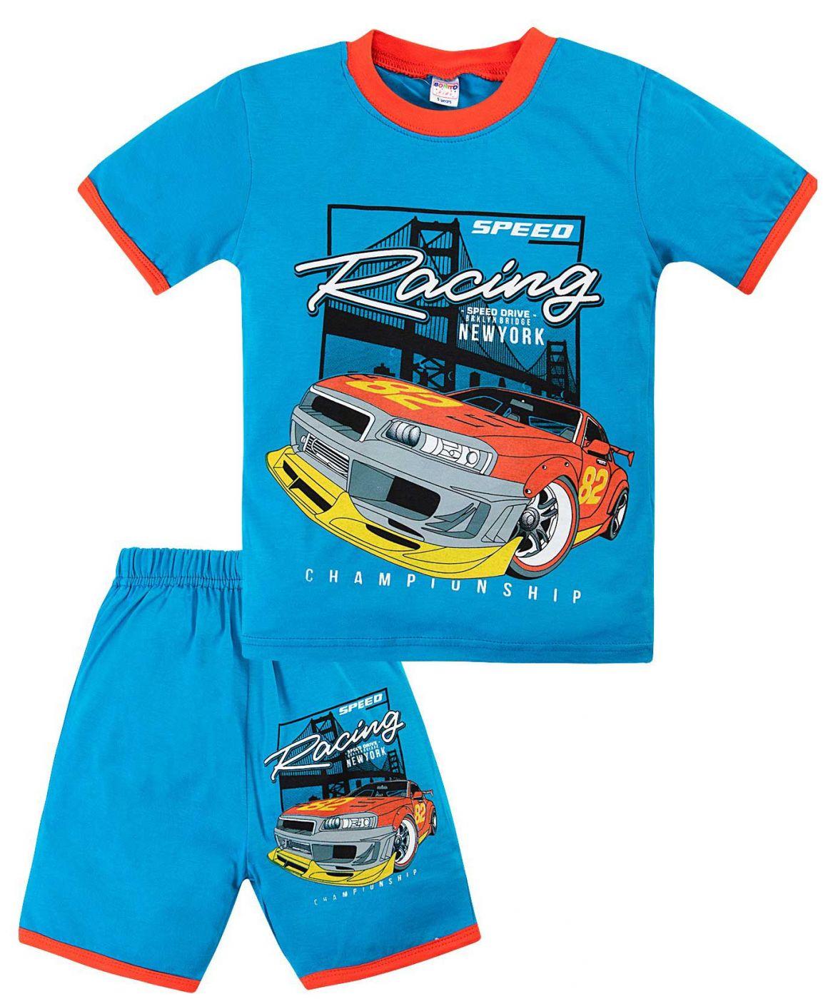 Комплект голубой с принтом sport car
