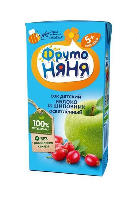 Сок Фрутоняня 0,2л яблочный с шиповником  осветл. фн