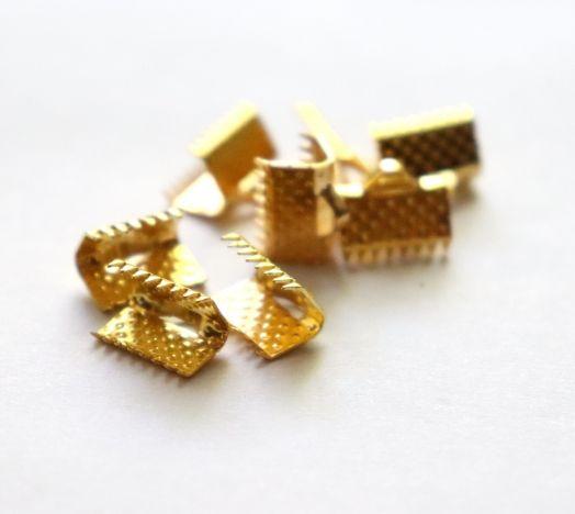 Зажим для ленты, Золото, 10 мм, 8 шт/упак