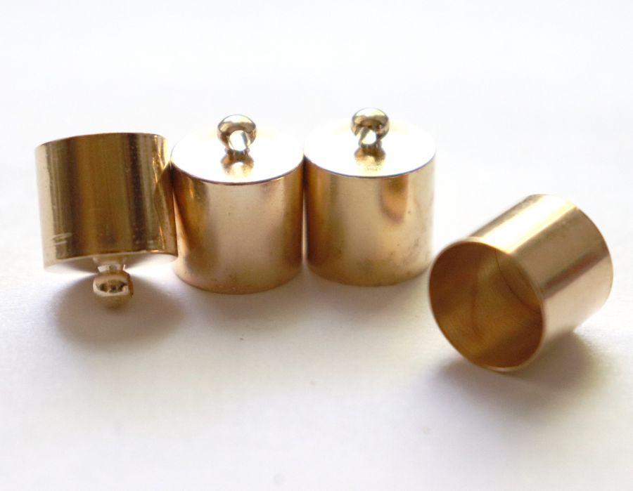 Колпачок цилиндр, с петелькой, D-12 мм, Золото, 4 шт/упак