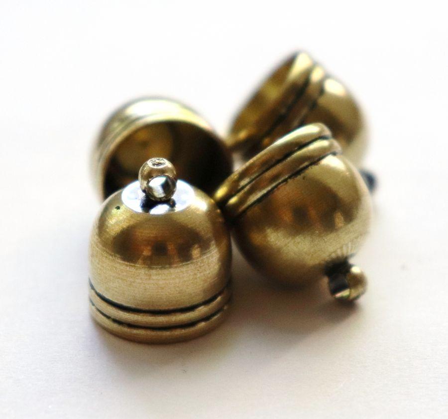 Колпачок литой колокольчик с петелькой, D-14 мм, Светлая бронза, 4 шт/упак