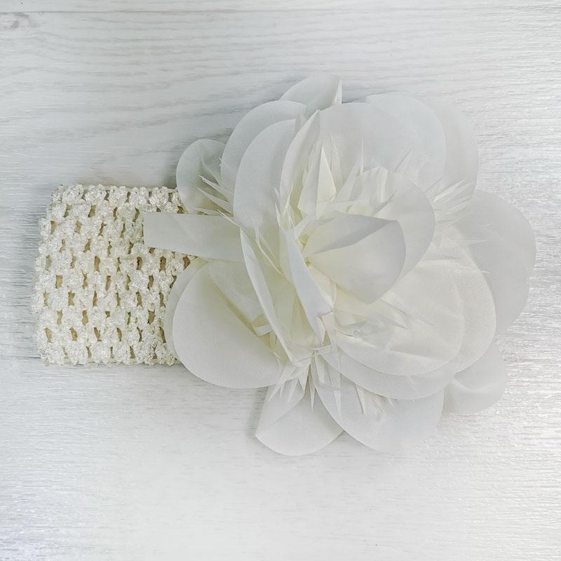 п1069-32 Повязка-резинка широкая с шифоновым цветком Астра молочная