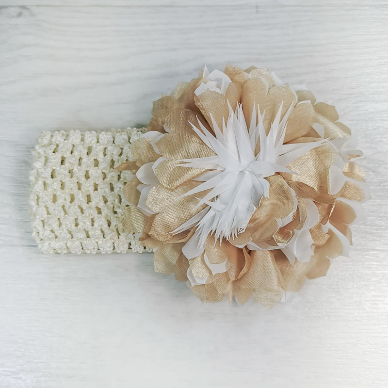 п1069-76 Повязка-резинка широкая с шифоновым цветком Астра золотистая