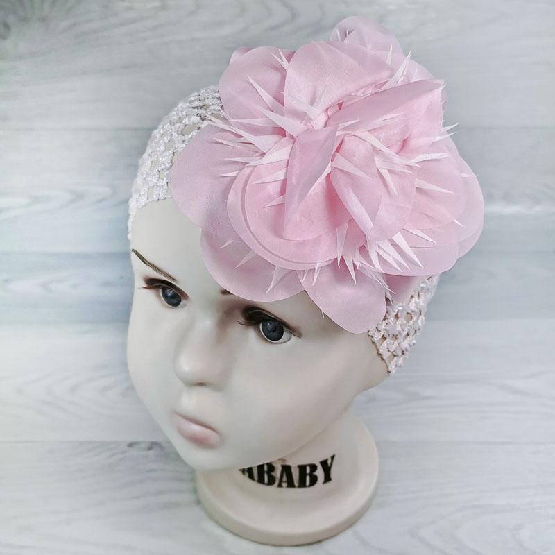 п1069-4703 Повязка-резинка широкая с шифоновым цветком Астра розовый/белый
