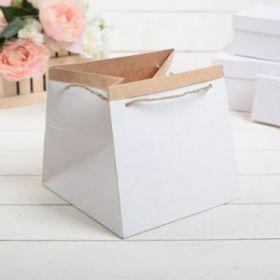 Пакет для цветов 19 х 19 х 17 см, белый   1815574