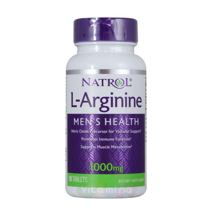 Natrol Аргинин L-Arginine  1000 мг, 50 табл.