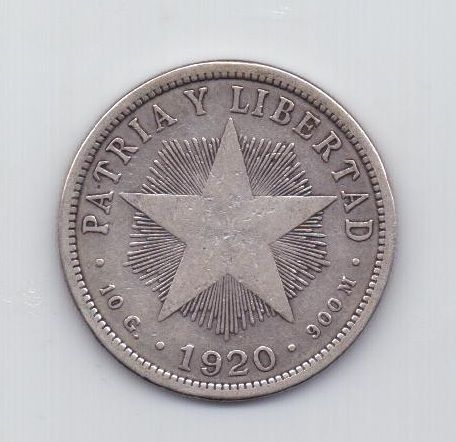 40 сентаво 1920 года Редкий год Куба