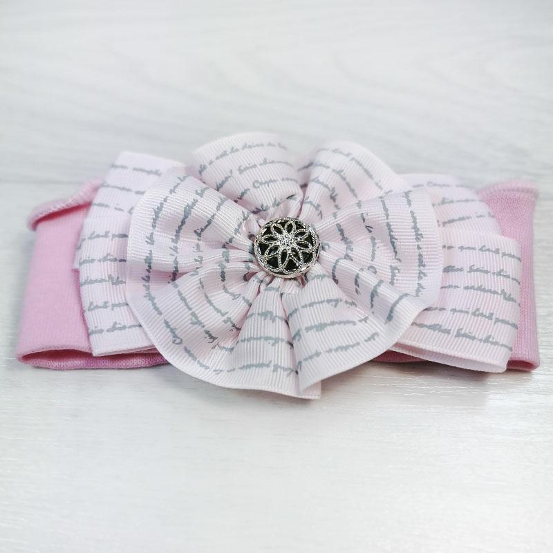 п1083-47 Повязка трикотажная с репсовым бантом Поэма розовая