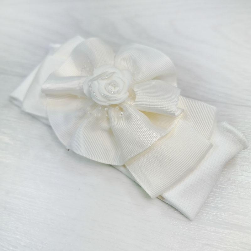 п1078-32 Повязка трикотажная с репсовым бантом Роза молочная