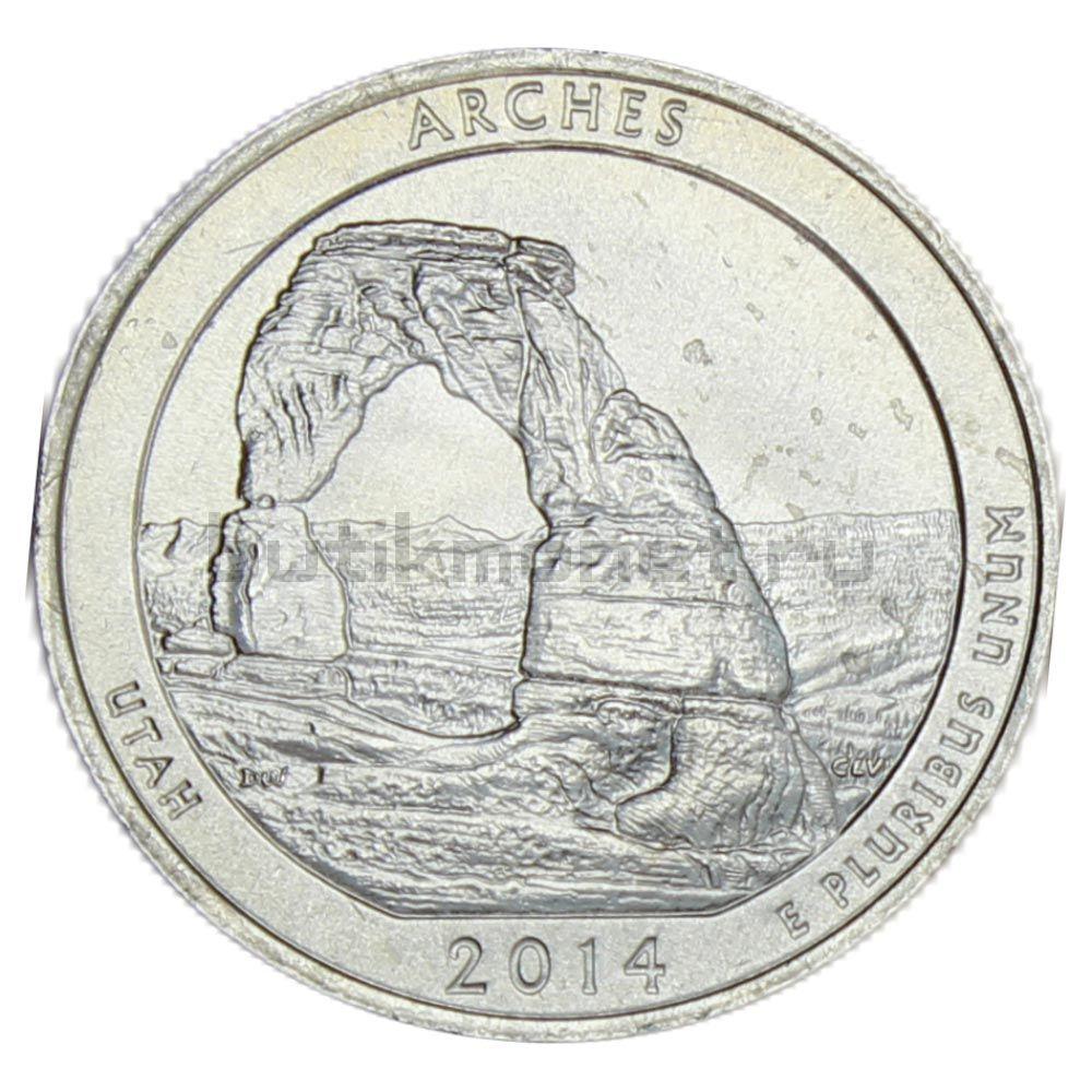 25 центов 2014 США Национальный парк Арки P