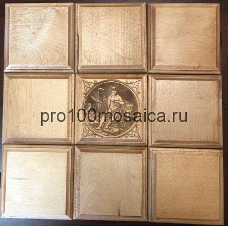Бесшовная деревянная мозаика из березы с декором, серия WOOD, 330*330*10 мм (GWD)