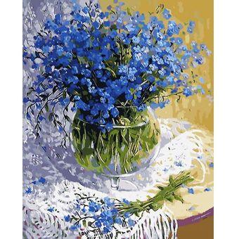 Роспись по холсту Букет синих полевых цветов 30х40см