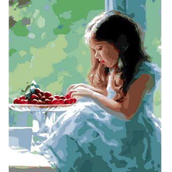 Роспись по холсту Девочка и ягоды 30х40см