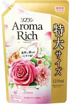 Lion Soflan Aroma Rich Diana Кондиционер для белья с натуральными ароматическими маслами мягкая упаковка 1210 мл