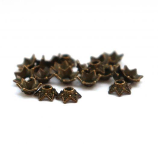 Шапочки для бусин № 26, литая бронза, 7 мм, 10 шт/упак
