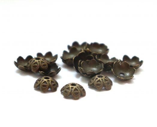 Шапочки для бусин № 44, чеканная бронза, 10 мм, 20 шт/упак
